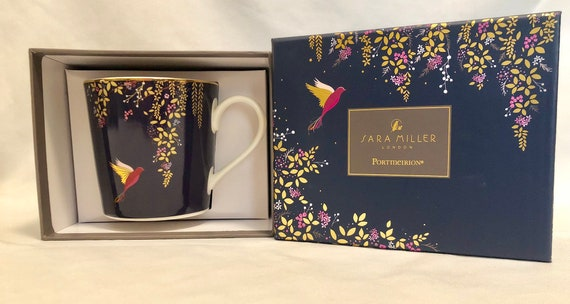 New In Box-Sara Miller-London-Portmeirion-Navy Blue-Birds-Garden Setting-22 Carat Gold Detail-Mug