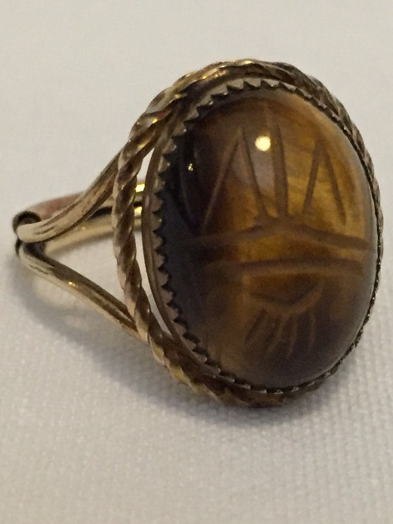 FREE SHIPPING-Vintage-Tigers Eye-Scarab-Carved-12K-Gold Filled-Expandable-Cocktail-Ring-