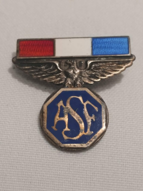Vintage Sterling Silver U.S. Army Pin. Red, White & Blue Enameled Bar over Rampant Eagle.