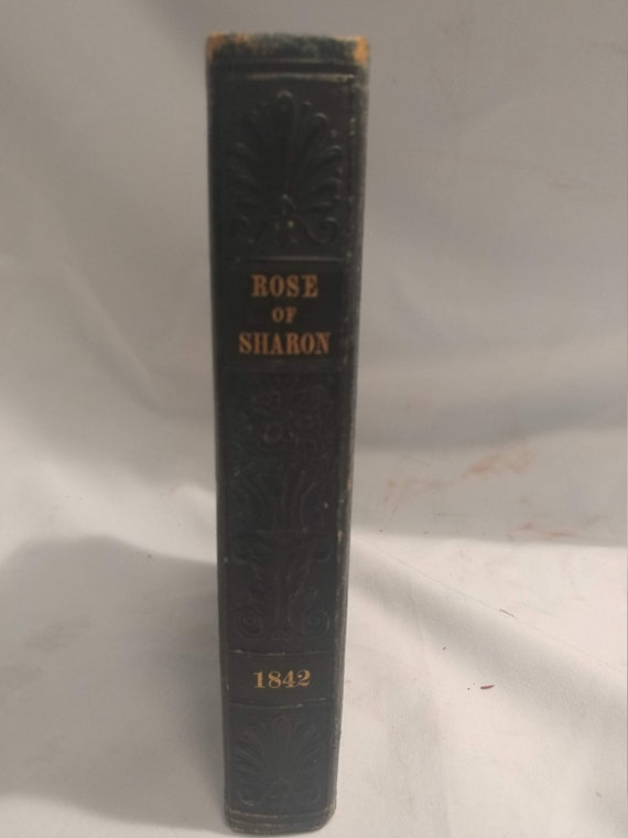 FREE SHIPPING- The Rose of Sharon. A Religious Souvenir 1842. Leather Wrapped Hardback Book