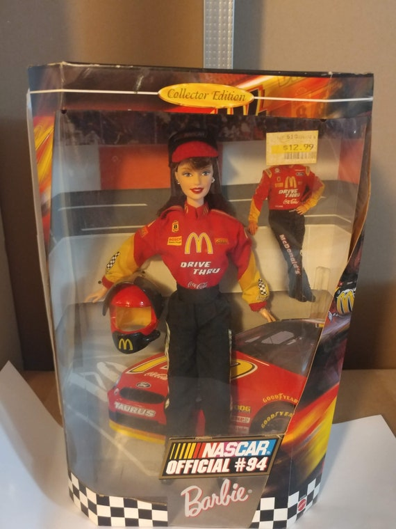 FREE SHIPPING- Vintage Mattel Barbie Doll- Official NASCAR #94 Barbie Doll- McDonald's Sponsor Uniform. New in Box! Excellent Condition.
