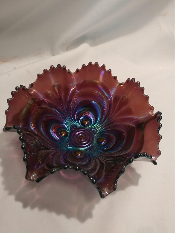 "FREE SHIPPING- Vintage Electric Imperial Amethyst Carnival Glass Bowl. Scalloped Edges. Ruffled Rim and Embossed Design. 7-1/4"" Diameters"