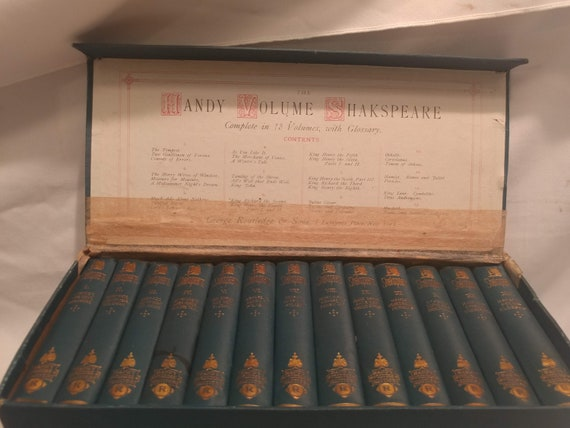 Antique 1880's George Routledge & Sons Handy Volume Boxed Shakespeare Set. 13 Volumes with Glossary. Original Box.
