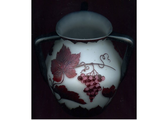 FREE SHIPPING-Antique-1922-1925-C A Loetz-Signed-Cameo-Maroon & Pink On White-Grape Leaf-3 Applied Handle-Raised