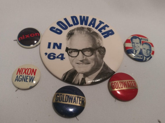 FREE SHIPPING- Vintage 1960's Campaign/Political Button Pins. Goldwater & Richard Nixon. Set of 6 Button Pins