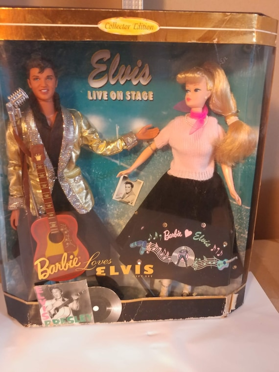 """FREE SHIPPING- Vintage Special Edition Barbie Doll by Mattel. """"Barbie Loves Elvis"""" Featuring Barbie and Elvis Presley. New in box!"""