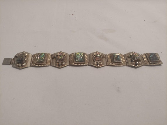 FREE SHIPPING- Vintage Sterling Silver Made in Mexico Bracelet with Raised Abalone Shell. Bohemian Style Link Bracelet