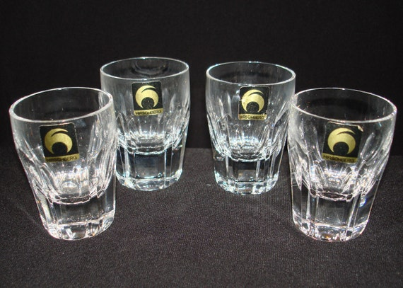 FREE SHIPPING-Vintage-Hirschberg-German-Set Of Four-Barware-Shot Glasses-Mid Century