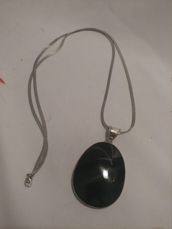 """FREE SHIPPING- 925 Sterling Silver with Onyx Oval Pendant Necklace. Long Herringbone Necklace Chain. 34-3/4"""" Long"""