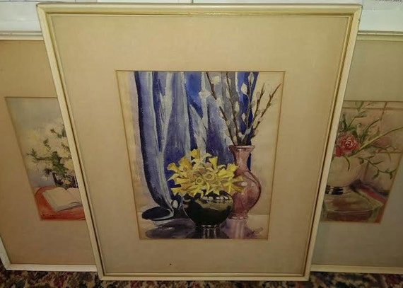 FREE SHIPPING-Nathalie Yehling-Signed-1930's-Floral-Still Life-Watercolor-Listed St. Louis Missouri Artist-1938