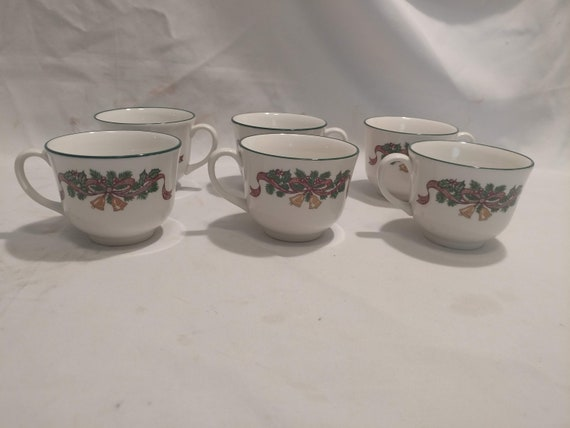 """FREE SHIPPING- Set of 6-Johnson Brothers England """"Victorian Christmas"""" Footed Cups. 2-5/8""""Tall. Debossed """"Made in England"""" on Base."""