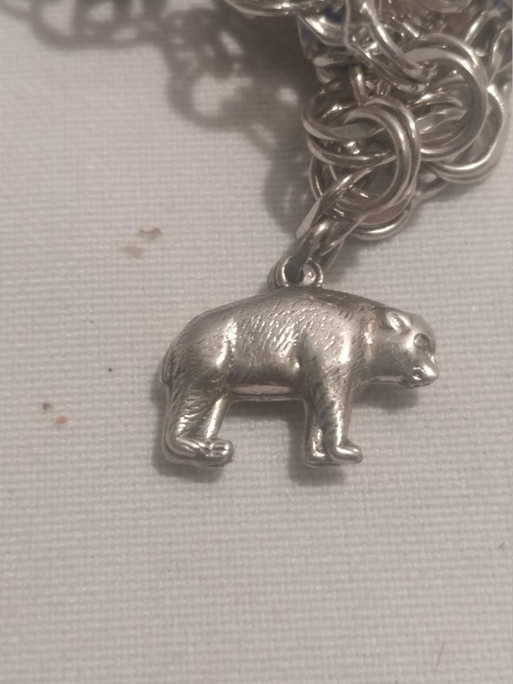 FREE SHIPPING- Vintage Sterling Silver with Charm for Charm Bracelet. Puffy Brown Bear Charm