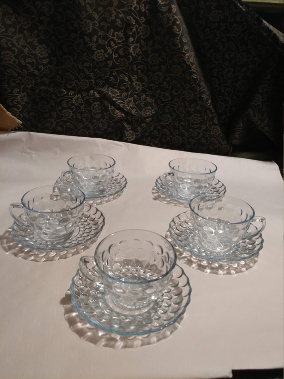 """FREE SHIPPING- Set of 5 Vintage Anchor Hocking Sapphire Blue Depression Glass Cups & Saucers.""""Bubble Blue""""  Raised Bubbles on the Outside"""