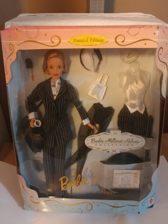 """FREE SHIPPING- Vintage Special Edition Barbie Doll by Mattel- """"Millicent Roberts Collection Pinstripe Power Barbie Doll"""""""