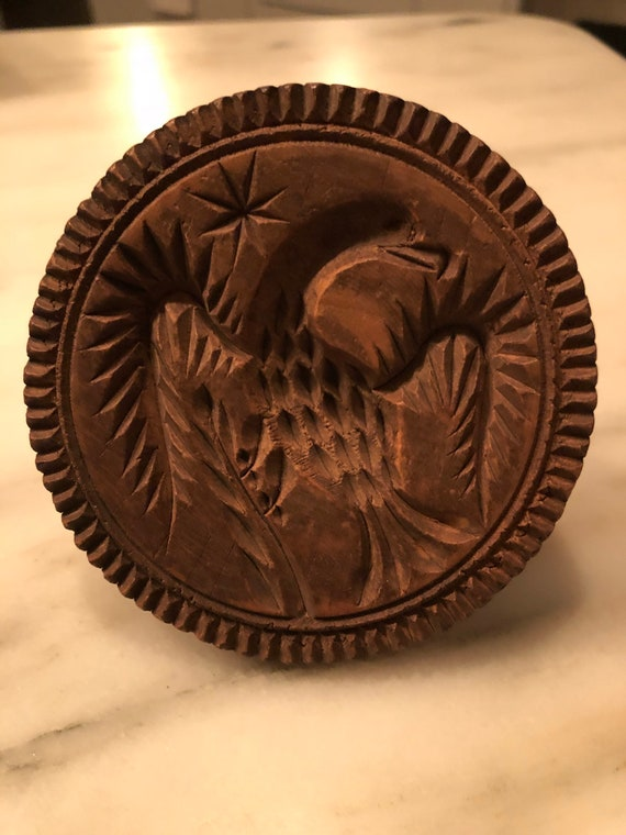 FREE SHIPPING-Antique Pennsylvania Eagle and Star Butter Stamp