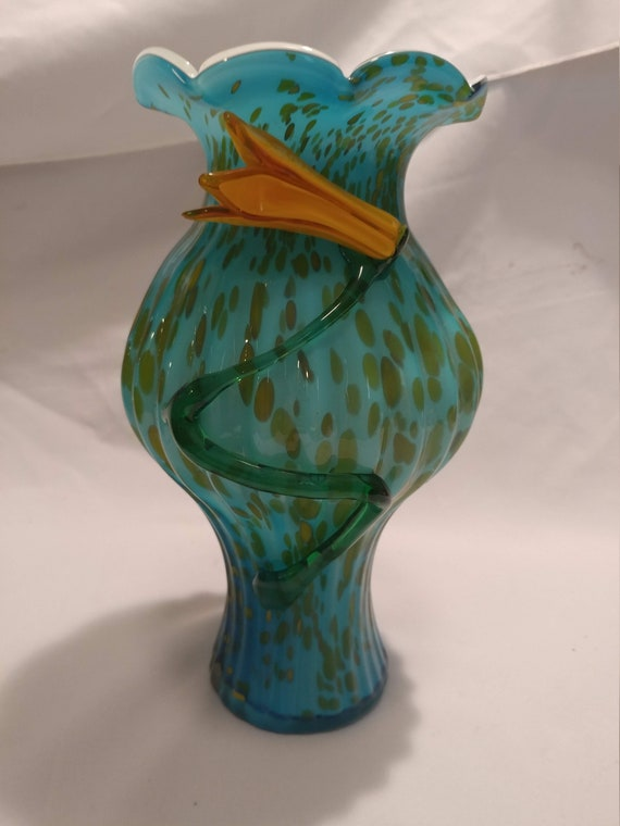 FREE SHIPPING- Bohemian Czech Cased Art Glass Vase. Blue Aventurine with Applied Flower.