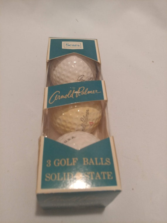 FREE SHIPPING- Set of 3- Solid State Arnold Palmer Golf Balls from Sears Roebuck. Original Package. Never Opened!