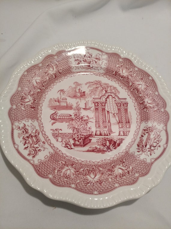 """FREE SHIPPING- Spode Archive Collection-Cranberry Print. Scalloped Edges Regency Series  10-7/8"""" Diameter Dinner Plates. """"Pagoda"""""""