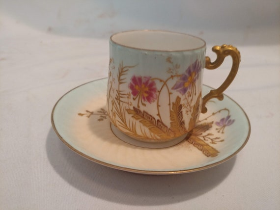 FREE SHIPPING- Antique Porcelain LS&S Limoges, France Demitasse Cup and Saucer. Gold Encrusted Pink and Purple Flowers.