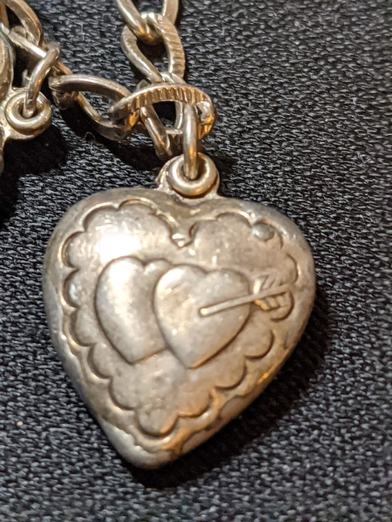 """FREE SHIPPING- Vintage 1/2"""" Long Sterling Silver Puffy Heart Charm for Charm Bracelet. Two Hearts Pierced by Cupid's Arrow"""