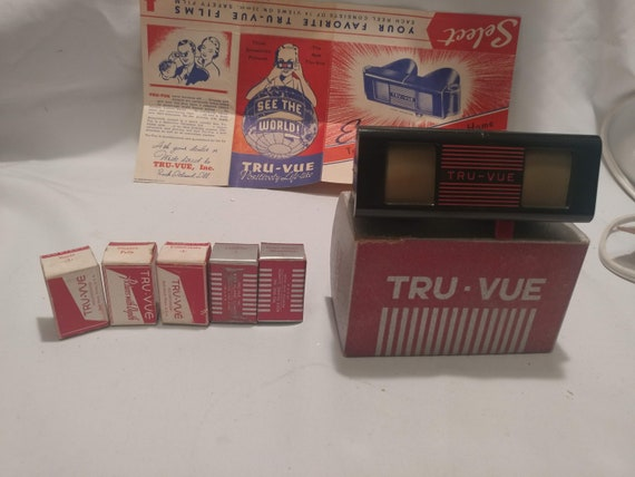 FREE SHIPPING- Vintage Tru-Vue Stereoscope Viewer with 5- 35MM Films featuring National Parks. Also includes original informational flyer.