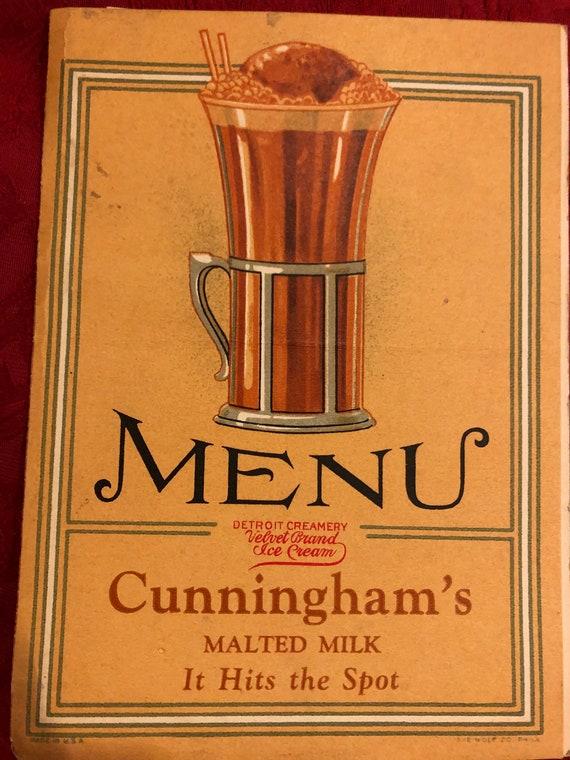 FREE SHIPPING- Cunningham's Menu-Vintage 1929