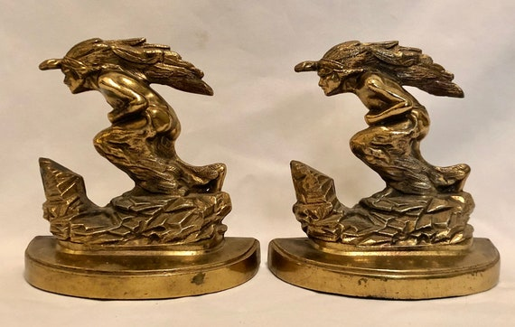Vintage-1930's-Rare-Bronze-Art Deco-High Style-Native American-Scouting Indian-Bookends