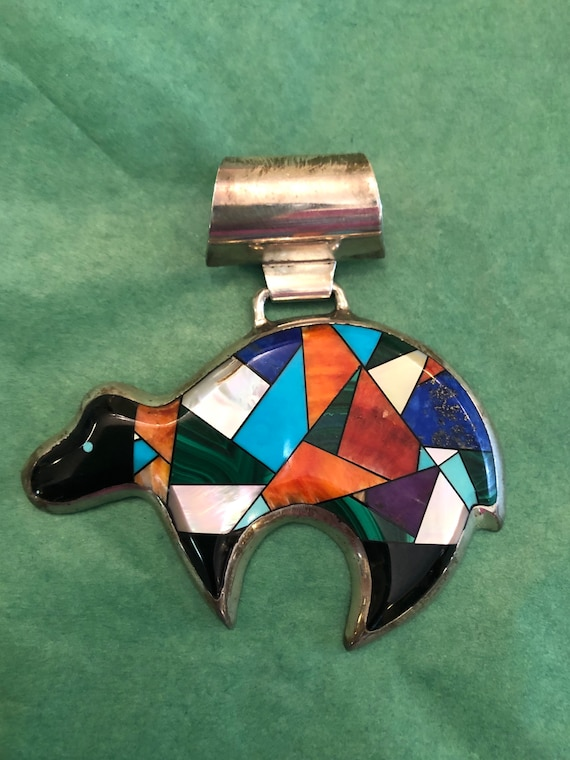 FREE SHIPPING-Vintage-Begay- Native American-Navajo-Inlaid Stone Pendant-Sterling Silver Artist Signed