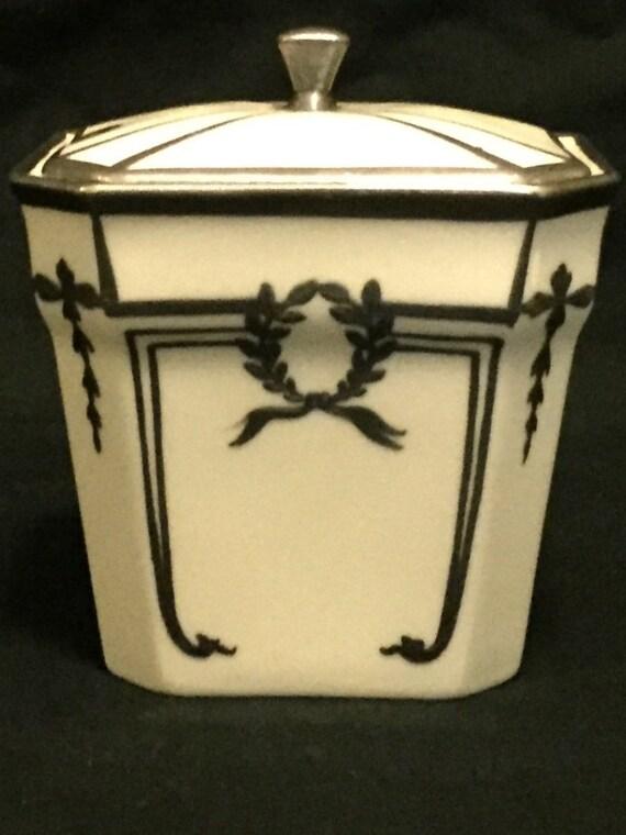 FREE SHIPPING--Vintage-1930's-Lenox-.925-Sterling-Inlay-Marmalade/Jam-Jar-Monogramed