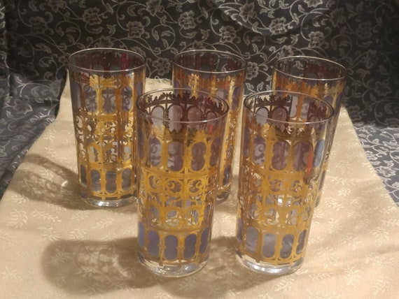 FREE SHIPPING- Mid Century Modern Drinkware: Set of 5- Culver Glass 24 K Gold Tall Tumblers- Gold Lattice & Blue Filled Windows