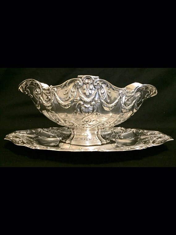 Free Shipping-Antique-1891-1919-Georg Roth & Co.-German-Sterling Silver-Draping Ribbion-17.4 Ounces-Sauce Boat