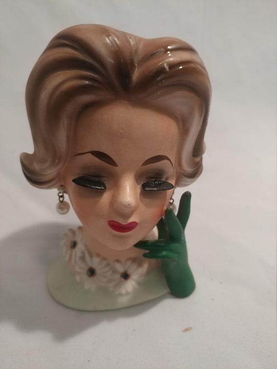 """FREE SHIPPING- Vintage Porcelain Napcoware Doris Day Daisy Head Vase. # C6427. 5"""" Tall"""