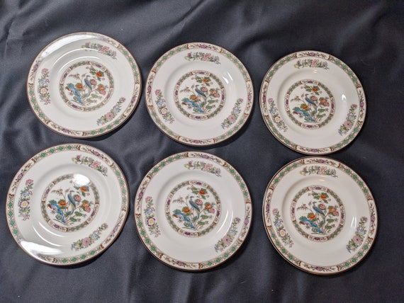 "FREE SHIPPING- Vintage Wedgwood Kutani Crane Patterned Fine English Bone China.Set of 6- 6-1/8""D Bread and Butter Plates"