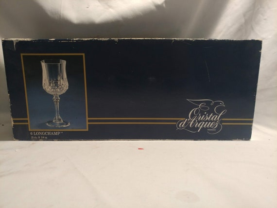 """FREE SHIPPING- Cristal D'Arques France Set of 6- """"Longchamps"""" Crystal Wine Goblets/Water Goblets. 7-1/4"""" Tall, 8 oz. Original box"""