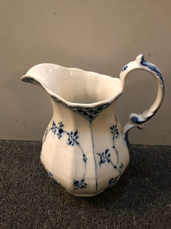 FREE SHIPPING-Royal Copenhagen-Blue Fluted-Half Lace-7 1/2 inch Milk Pitcher