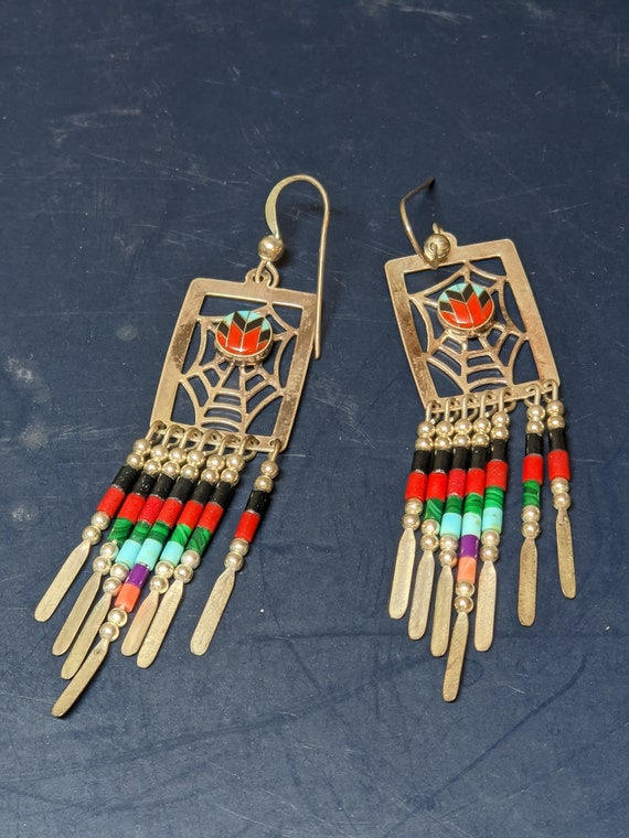 FREE SHIPPING- Vintage Silver Tone Beaded Native American Designed Zuni Style Dreamcatcher Earrings with Multi-Colored, Inlaid Stones.