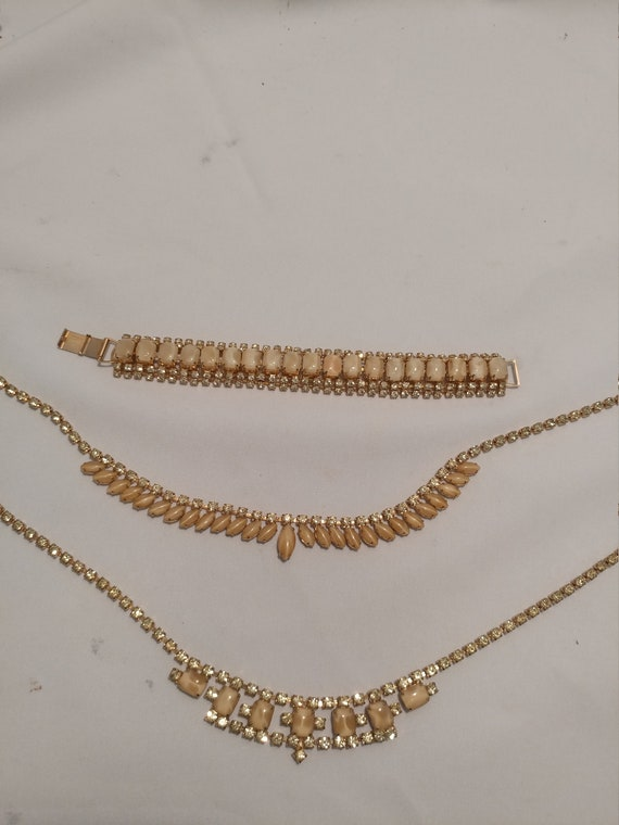 FREE SHIPPING- Vintage 3 Piece Set Costume Jewelry. Gold Tone with Clear Cubic Zircon & Opalescent Beige Stones. 2 Neckaces and 1 Bracelet