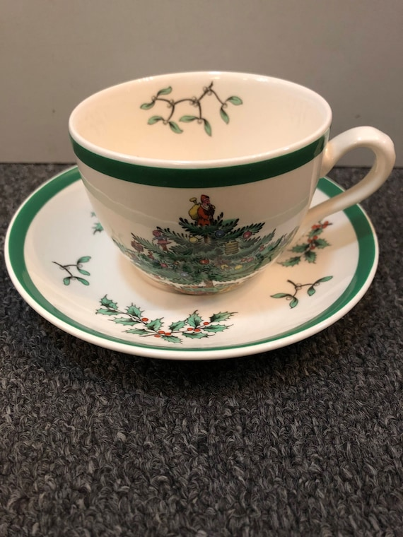 FREE SHIPPING-Spode-English-Christmas Tree-Cup and Saucer