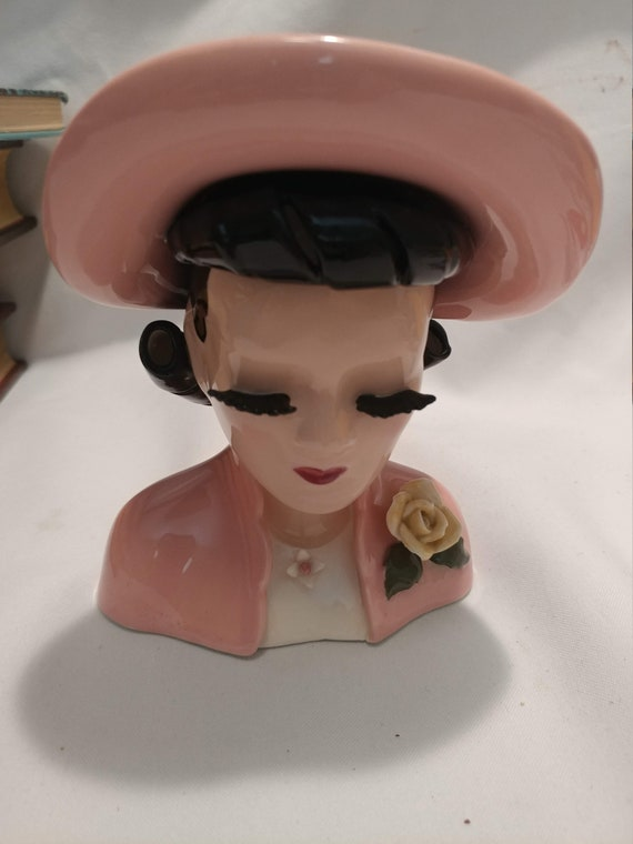 FREE SHIPPING- Vintage Hand Painted Porcelain Lady in Pink Head Vase. Great Condition!