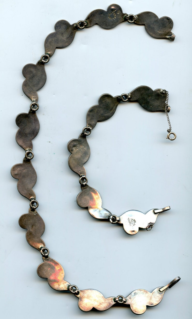 FREE SHIPPING-Vintage-1950/'s-Sterling-Taxco-Abalone-Necklace-Bracelet-Set-Signed Enrique Ledesma-Southwest-Mexico