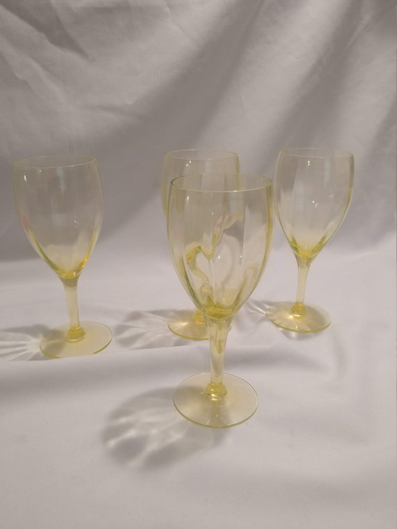 FREE SHIPPING- Set of 4- Vintage Vaseline Glass Wine Glasses. Paneled/Ribbed Bowl. Great Condition!