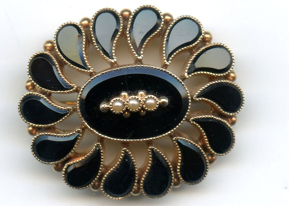 FREE SHIPPING-Victorian-Antique-Mourning-14K-Gold-Black-Onyx-Tears-Natural-Seed Pearl-Pin-Brooch