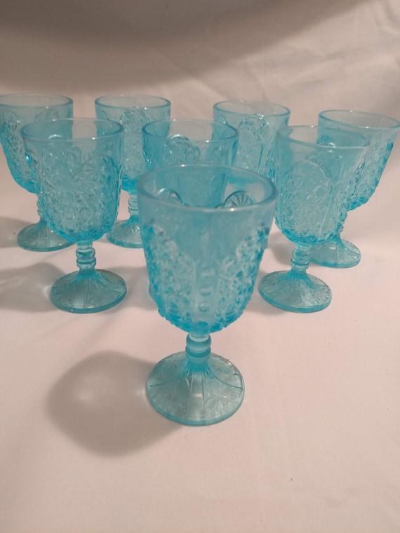 FREE SHIPPING. LG Wright Glass Depression Era Blue Glass Wine Glasses. Set of 8. Daisy & Button Pattern