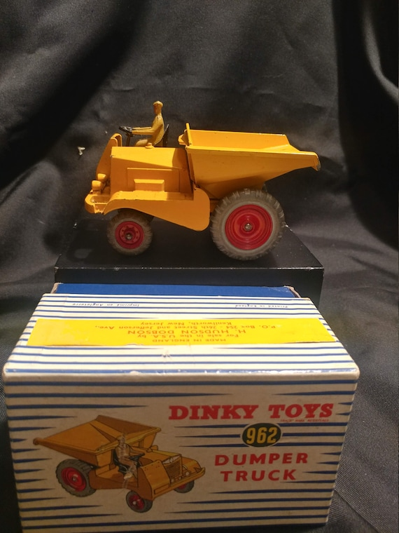 FREE SHIPPING- Vintage Dinky Toys Toy Car in Original Box # 962- Muir Hill Yellow Dumper Truck in Original Box with Slight Wear on Paint.