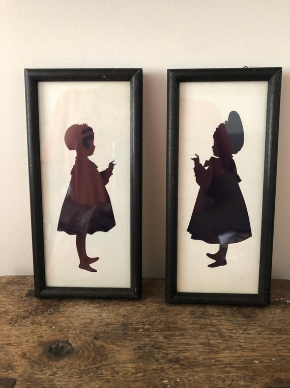 FREE SHIPPING-Pair of Hand Cut-Antique-Framed Silhouettes
