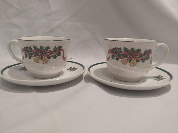 """FREE SHIPPING- Pair of 2-Johnson Brothers England """"Victorian Christmas"""" Footed Cups with Matching Saucers."""