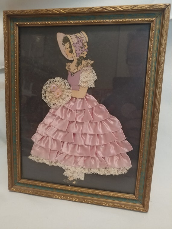 """FREE SHIPPING- Vintage Lace and Ribbon Framed Paper Doll. Pink Ruffled Dress. Sized 10-1/2"""" Long x 8-1/2"""" Wide"""