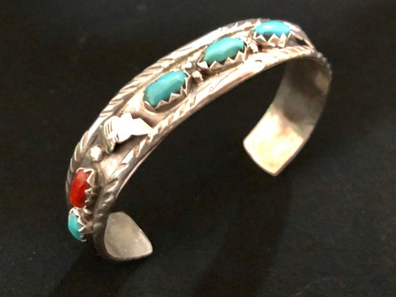 Vintage-Sterling Silver-Turquoise-Coral-Feather-Cuff-Bracelet