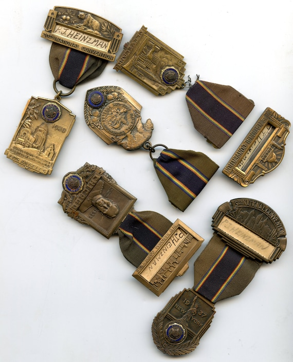 FREE SHIPPING-5-Vintage-1936, 1937, 1938, 1939, 1950-American Legion-National Convention-Badges-New York, LA, Chicago, Cleveland