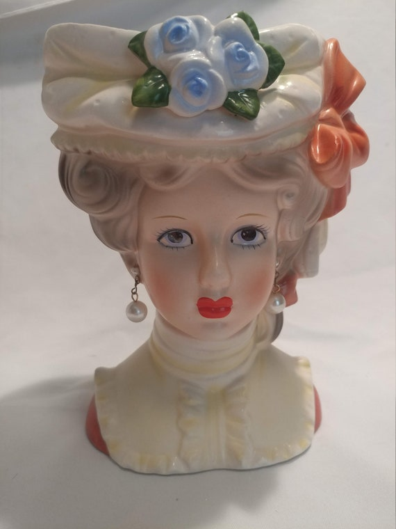 "FREE SHIPPING- Large, United Imports Porcelain Vintage Young Lady Head Vase. Orange Bow with Flowers, 2 Faux Pearl Earrings. 7"" Tall"